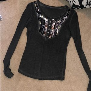 Free people sequin grey long sleeve
